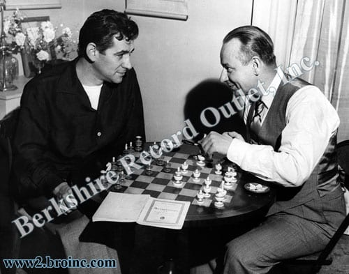 Leonard Bernstein and Zino Francescatti playing chess