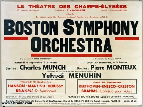 Boston Symphony Orchestra tour poster for Champs Elysees concert