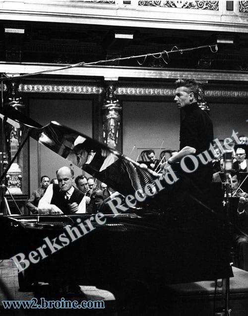 Sviatoslav Richter and Herbert von Karajan with orchestra